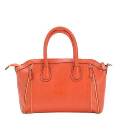 This Orange Crocodile Zip-Accent Leather Satchel is perfect! #zulilyfinds