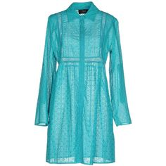 Clips Short Dress (385 AUD) ❤ liked on Polyvore featuring dresses, turquoise, short dresses, long sleeve lace dress, lace shirt dress, blue dress and long sleeve mini dress