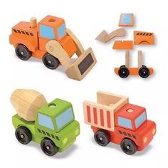 juego set de camiones de madera armables