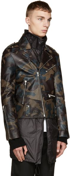 Pyer Moss Tricolor Camo Leather Jacket