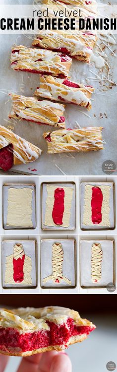 This easy cream cheese danish goes red velvet!  A creamy red velvet center is surrounded by crescent dough and baked to perfection.  An easy glaze finishes off this danish that is perfect for breakfast or brunch.