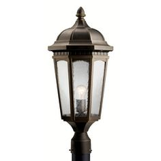Kichler Post Light with Clear Glass in Textured Black Finish