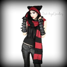 Red and Black Kitten Hat and Scarf FREE SHIPPING IN NZ
