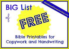 Free Bible Copywork Printables @Karen @ Bible Based Homeschooling{on a budget}