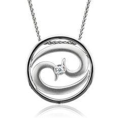 Zodiac Sign Cancer Silver Diamond Pendant Necklace