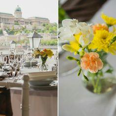 Romantikus esküvői vacsora sárga virágokkal, fehér chiavari szèkekkel, gyönyörű kilátással a Budai várra Table Decorations, Wedding, Home Decor, Valentines Day Weddings, Decoration Home, Room Decor, Weddings, Mariage, Marriage