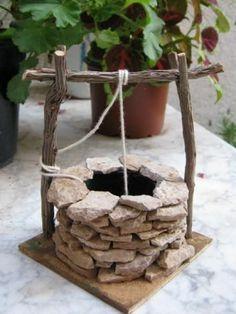 Pozo de piedra natural para pesebres o maquetas - artesanum com #jardindeduendes #fairygardening