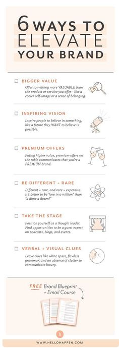 Want to build a premium brand? You have to ELEVATE it in people's minds. Here are 6 methods you can use today! // brand strategy for passionate entrepreneurs / premium brand / branding tips / luxury brand / / Melody Ybona Gawliu pins Personal Branding, Social Media Branding, Branding Your Business, Business Marketing, Creative Business, Content Marketing, Business Tips, Luxury Marketing, Business Coaching