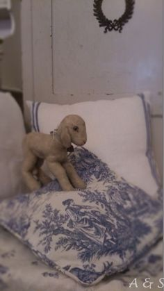 Steiff lamb and blue and white toile