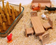 Little Red Hen small world - love the combination of language, literacy, and sensory play here