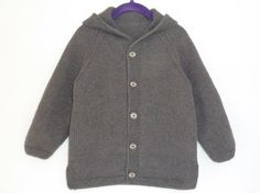 Toddler sweater, merino wool and cashmere, knit baby sweater, hooded cardigan, hand knitted, soft wool, dark gray, size 3 / 4 years