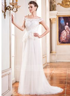 Wedding Dresses - $149.99 - A-Line/Princess Off-the-Shoulder Court Train Tulle Charmeuse Lace Wedding Dress With Beading Flower(s) Sequins (002050393) http://jjshouse.com/A-Line-Princess-Off-The-Shoulder-Court-Train-Tulle-Charmeuse-Lace-Wedding-Dress-With-Beading-Flower-S-Sequins-002050393-g50393
