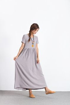#Oversize #Linen Cotton #Plus size #Long Clothing #Loose Custom made dress