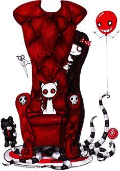 and Cats ^◕=ᆽ=◕^ Decoration deco deco Emo Art, Goth Art, Dark Drawings, Cartoon Drawings, Arte Emo, Tim Burton Style, Digital Art Fantasy, Creepy Pictures, Kawaii