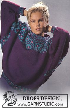 """DROPS jumper with rose pattern borders in """"Karisma Superwash"""". - Free pattern by DROPS Design Fair Isle Knitting Patterns, Fair Isle Pattern, Knitting Kits, Sweater Knitting Patterns, Knitting Designs, Free Knitting, Crochet Patterns, Drops Design, Knitwear Fashion"""