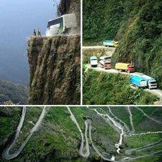 Bolivia, scary place to ride a car, bus etc..
