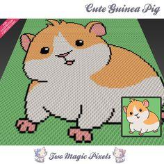 Cute Guinea Pig crochet blanket pattern; c2c, cross stitch; graph; pdf download;