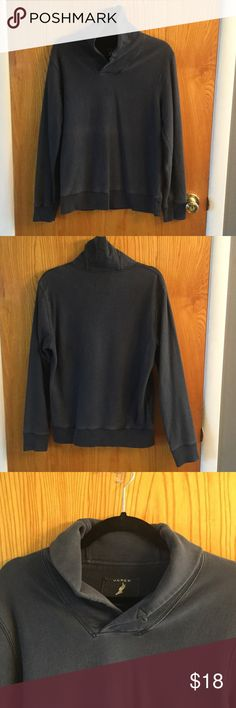 J. Crew Men's Shawl Collar Cotton Pullover 100% cotton pullover. Faded color but still in great condition. Is missing the button from the collar, see picture. Navy blue. J. Crew Shirts Sweatshirts & Hoodies