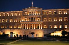 Parliament at night overlooking Syntagma Square, Athens, Greece