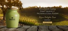 Enter to win a trip to France fro 2. Includes $3,000 towards Airfare, 2 Nights accommodations, a VIP tour and tasting of the Côte de Nuits region, 2 Dinners at Michelin restaurants, cultural attractions and a private gourmet tour of Dijon. Ends July 31, 2015