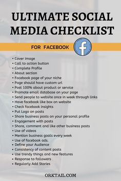 Here is the Ultimate Social Media Marketing and Optimization Checklist for Facebook to make your blogs and online business more engaging. #socialmediachecklist #facebook #orktail Facebook Marketing, Business Marketing, Social Media Marketing, Online Business, Online Marketing Strategies, Digital Marketing Services, For Facebook, Writing Services, Social Media Tips