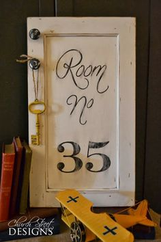 Vintage Room Number Sign - Hand Painted Sign - Re-purposed old cabinet doors - Order your custom sign - Church Street Designs