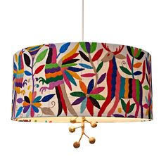Paulina pendant lamp from Stray Dog Designs. Hand crafted shade with embroidered Otomi fabric from the Otomi Indian people of Central Mexico.