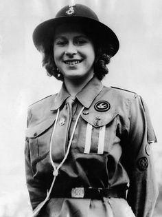 Princess Elizabeth, (the future Queen Elizabeth II), in her Girl Guide uniform, c. 1942.