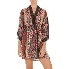 In Bloom Women's Floral Lace Kimono Wrap ($68) ❤ liked on Polyvore featuring intimates, robes, current, floral robe, embroidered robes, in bloom by jonquil, lace trim robe and lace kimono robe