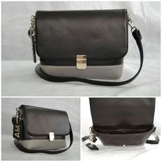 Our Classique Sling customized in Black body, Grey bottom with Silver metalwork, Grey Inside lining & a hanging tag monogram :) See more at: http://www.toteteca.com/ #baglove #customercreations #tonal