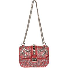 Valentino Garavani Lock embroidered small bag (38,550 MXN) ❤ liked on Polyvore featuring bags, handbags, studded purse, kiss-lock handbags, chain strap purse, embroidered purse and embroidered handbag