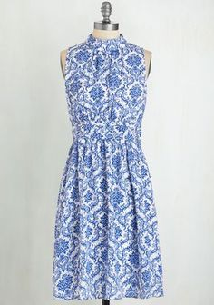 Windy City Dress in Delft - Woven, White, Print, Daytime Party, A-line, Sleeveless, Spring, Summer, Other Print, Exclusives, Variation, Private Label, Mid-length, As You Wish Sale, Blue, Better, Special Occasion, Wedding, Bridesmaid, Vintage Inspired, Gals