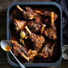 Slow Braised Lamb Shanks   MiNDFOOD Lamb Sauce, Lamb Shank Recipe, Braised Lamb Shanks, Pappardelle Pasta, Marmite, Protein Sources, Roasting Pan, Main Meals, Chicken Wings