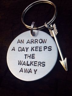 "Zombie key chain - undead key chain - the walking dead inspired keychain - ""An arrow a day keeps the walkers away"" - zombie killer - TWD Walking Dead Zombies, Fear The Walking Dead, Walking Dead Humor, Walking Dead Quotes, Z Nation, Chandler Riggs, Nerd, Dead Inside, Stuff And Thangs"