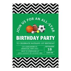 Custom an all-star sport birthday party 5x7 paper invitation card