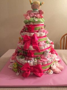 Diaper Cake - Pink and Green