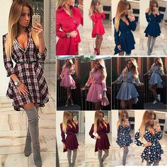 Women Fashion Casual Long Sleeve Blouse Party Evening Cocktail Short Mini Dress #Sexy #Casual