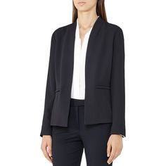 Reiss Bailey Open-Front Blazer (1.140 BRL) ❤ liked on Polyvore featuring outerwear, jackets, blazers, night navy, open front jacket, blue blazer jacket, reiss jacket, navy jackets and open front blazer