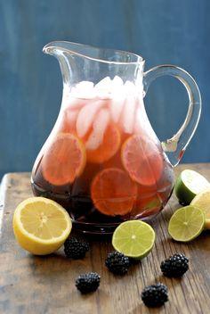 Blackeberry-Lemon-Lime Water    12     ounces fresh organic blackberries  1       organic lemon, sliced  2       organic limes, sliced    Place berries, lemon and lime slices in a pitcher. Muddle or mash with wooden spoon. Fill pitcher with ice. Fill with water. Cover and chill in fridge for 3 days.