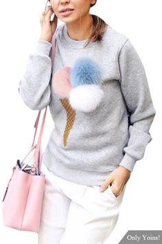 Grey Fashion Round Neck Long Sleeves Pom Pom Details Sweatshirt