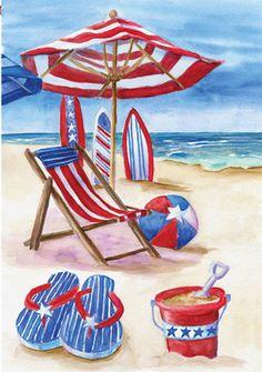 All American Beach Garden Flag from Just for Fun Flags. Patriotic Beach Garden Flag for Summer from Accent Flags by Premier . Garden flag size by (Flag stands sold sepa Art Plage, Beach Flags, Beach Gardens, Flag Decor, House Flags, Beach Scenes, Mail Art, Beach Art, Garden Flags