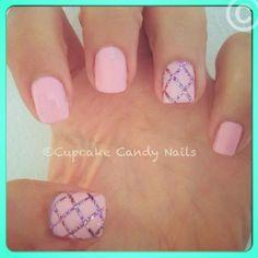 Pink and glitter nail art