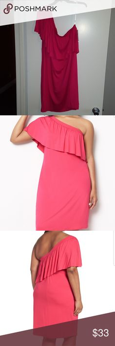 """Jersey Ruffle One Shoulder Dress Three Dots One shoulder neckline with a flouncy ruffle overlau crown thr beautiful style of a slim stretch jersey dress. Slips on over head One shoulder neck Length 39 1/2"""" 1x= 18W - 20W 2x= 22W- 24W Three Dots Dresses One Shoulder"""