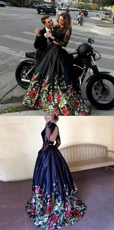modest two piece black prom dresses with sleeves, unique long sleeves floral party dresses with lace, gorgeous 2 piece open back evening gowns Floral Prom Dresses, Prom Dresses Two Piece, Prom Dresses Long With Sleeves, Black Prom Dresses, Dance Dresses, Pretty Dresses, Homecoming Dresses, Beautiful Dresses, Prom Dresses Black Lace