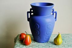RESERVED for Joann - 1930s Matte Blue Arts and Crafts Art Deco Vase by Monmouth Pottery Artware Circa 1930s