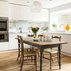 White Gloss and Oak Floor Kitchen