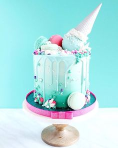 Pretty & bright, blue & pink drip cake.