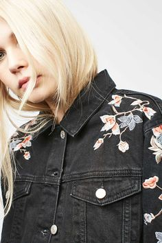 MOTO Floral Embroidered Jacket - Jackets & Coats - Clothing - Topshop
