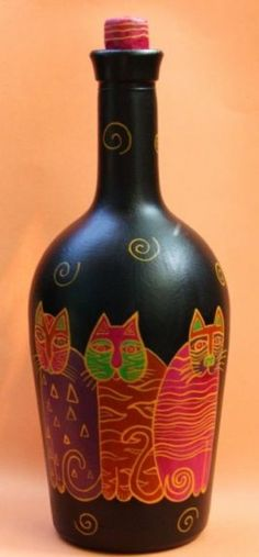 Bottle painted with laurel Burch cats