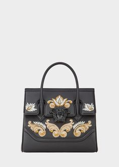 Dual-carry style bag from the Palazzo Empire line crafted in exceptional calf leather with central Medusa, top handle and embroidered effects. This newly iconic bag features a foldover Medusa closure. A truly one-of-a-kind bag. Luxury Purses, Luxury Bags, Fashion Handbags, Fashion Bags, Women's Handbags, Dope Fashion, Sac Birkin Hermes, Versace Bag, Leather Evening Bags